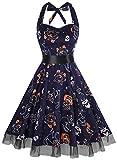 Oten - Vestido Vintage, vestido de mujer con estampado floral de los años 50, Rockabilly, Swing, cuello halter