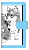 楽天モバイル Rakuten BIGs 手帳型 スマホ ケース カバー 【ステッチタイプ】 YD891 シベリアンハスキー02 横開き UV印刷