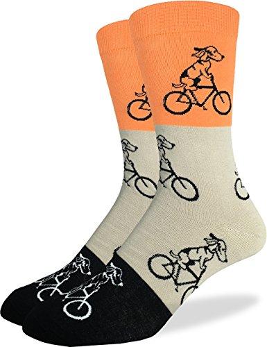 Good Luck Sock Men's Orange Dogs Riding Bikes Crew Socks, Shoe size 7-12, Orange/Grey