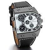 JewelryWe Herren Armbanduhr, 3 Zeitzone übergroße Militär Sportuhr Analog Quarz Uhr mit Schwarz Leder Armband & Weiss Zifferblatt