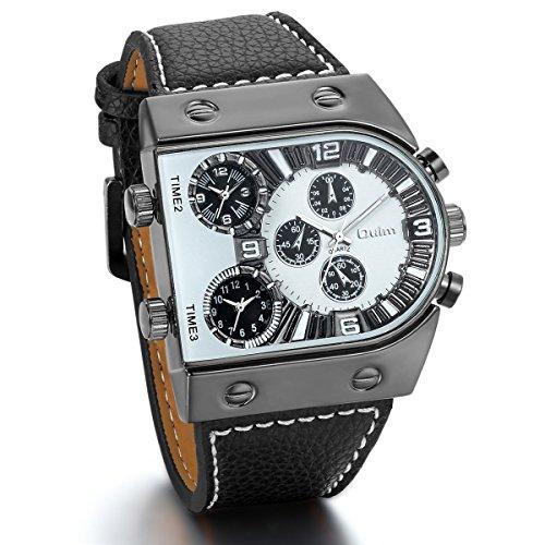 JewelryWe - Reloj para hombre con 3 grandes esferas negras de movimiento con correa de piel informal