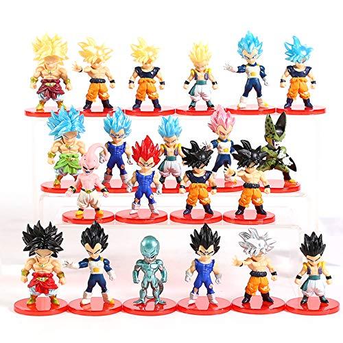 DEERO 16 Unids/Lote Dragon Ball Super Saiyajin Dios Figura De Acción Son Goku Gohan Vegeta Vegetto Freezer Zamasu Ultra Instinto Modelo Juguetes (E 1set(21pcs))