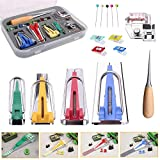 Bias Tape Maker Set All 4 Sizes 1/4' 1/2' 3/4' 1' (6mm 12mm 18mm 25mm) Binding Foot Craft Clips Awl Quilter's Pin Wooden Awl,Foot Press -Practical Bias Tape Maker Set for Sewing/Quilting