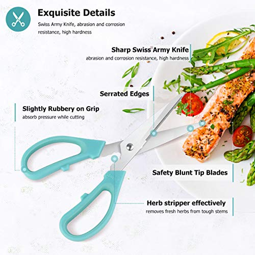 Kitchen Shears Scissors Stainless Steel, iBayam 3-Color 8 Inch Dishwasher Safe Food Scissors for Herbs Chicken Meat Poultry Vegetable Fish BBQ, Utility Multipurpose Scissors for Cutting Paper Boxes