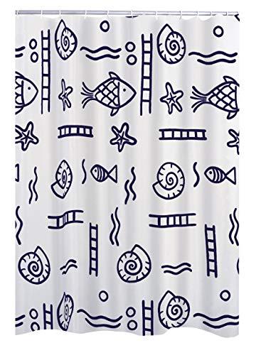 RIDDER Duschvorhang Textil Neptun inkl. Ringe blau 120x200 cm