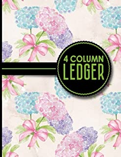 4 Column Ledger: Accounting Bookkeeping Notebook, Accounting Record Keeping Books, Ledger Paper Pad, Hydrangea Flower Cover, 8.5