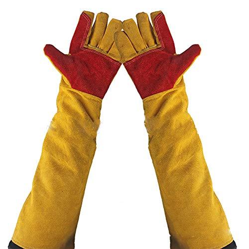 Durable 59,9cm Zoll Lange Ärmel Arm Schutz Leder Schweißen Handschuhe Heat & Verschleißfest Rindsleder Leder Handschuhe für BBQ, Camping, Kochen, Backen, Grill, Kamin hct09-f