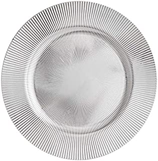 YUEZ_AE 13 Inch Round Elegant Serve Ware Charger Plates with Matching Napkin Rings, Wedding, Dinner party, Event(Silver,6)
