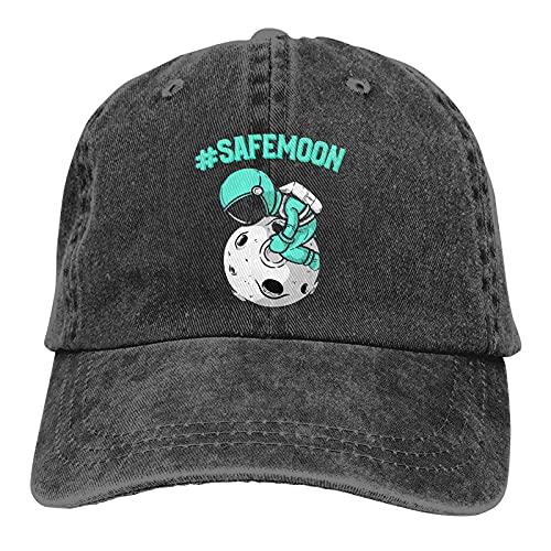 Safemoon - Cappello da baseball in cotone, lavabile, per adulti, regolabile, per uomo e donna Nero Taglia unica