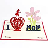 I Love MOM Pop up Birthday Cards for Women Mum 3D Pop Up Mothers Day Card Thank You Anniversary All Occasion for Mother's Day