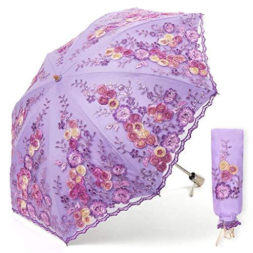 ZHENAO Sun Umbrella Sun Protection Uv Lace Bordado 20% Princesa Paraguas Plegable Plástico Paraguas Pintura de secado rápido/E