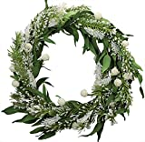 Prolece 20 Inch Snowball Green Coniferous Wreath Christmas Wreath Winter Wreath Spring Wreath Indoor and Outdoor Decorative Wreath