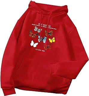 Sudaderas con Capucha de Mariposa Tops para Mujer, Bolsillo de Manga Larga Otoño Invierno Camisas con Capucha Abrigos Suel...
