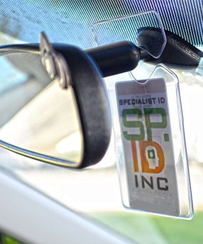 Clear Parking Permit Holder - Durable Vertical Parking Lot Pass Rear View Mirror Hanger - for Small Stickers and Passes - for Car or Truck by Specialist ID, 1 Sold Individually Photo #5