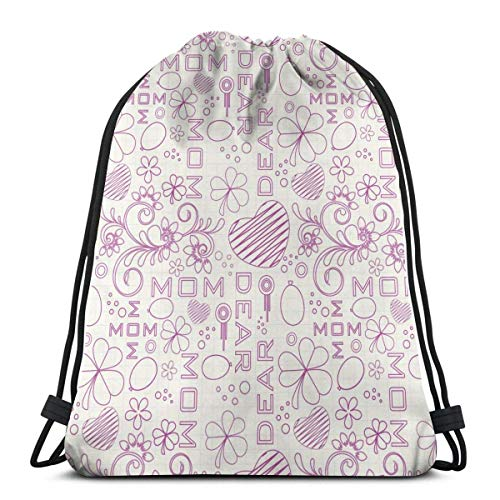 GeorgoaKunk Zaino con Coulisse Dear Mom 3D Print String Bag Sackpack Borse Tote Cinch Regali per Donne Uomini Palestra Shopping Sport Yoga