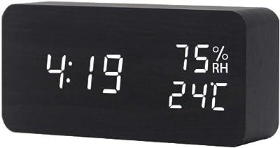 ZOUQILAI Reloj de Alarma Digital de Madera Cubo Moderno de múltiples Funciones con luz LED Fecha