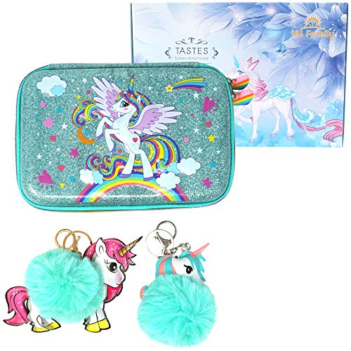 HH Family Llama Unicorn Pencil Case for Girls Hardtop Zipper Pouch with Compartments and 2 Pcs Fur Ball Key Chains (Glitter Unicorn B)