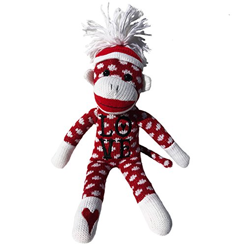 Sock Monkey Plush by ColorBoxCrate 12 inch Valentines Day Sock Monkey, Embroidered Heart Love Sock Monkey, Classic Red Sock Monkey with White Dots and Pom Pom Tossle Hat - Perfect Valentines Day Gift