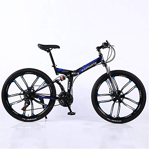 XINGXINGNS vouwfiets 26 Inch 27 Speed Hoge Koolstofstaal Opvouwbare Mountainbike met schijfremmen en ophanging Vork Frame Schokabsorptie Sport Vrije tijd Mannen en Vrouwen