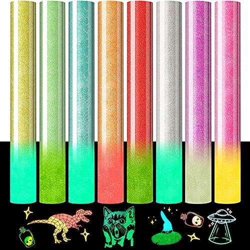 Glitter Heat Transfer Vinyl Glow in the Dark Htv Rolls Bundle Only $4.40 (Retail $43.99)