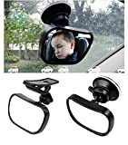 1Set Black 360 Degree Adjustable Safety Baby Child Backseat Mirror Shatter-Proof Acrylic Baby Mirror Car Rearview Toddler Suction Visor Mirror Baby View Mirror for Auto Back Seat