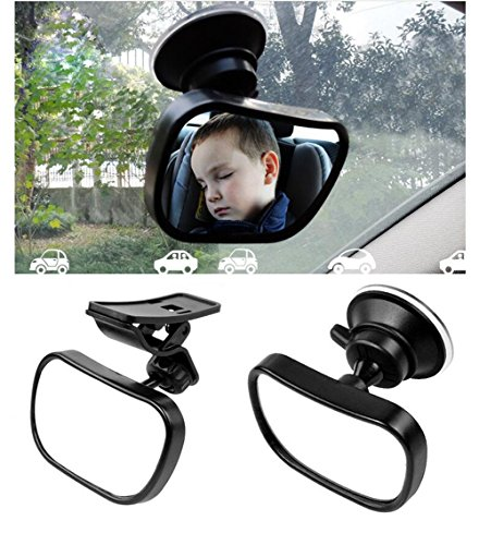 1 Set Zwart 360 Graden Verstelbare Baby Achteruitkijkspiegel Veilig Monitor Baby Kind in Achterzijde Auto Stoel Shatter-Proof Acryl Spiegel Auto Achterzijde Spiegels Hulpzuignap Voorwaarts Zuignap