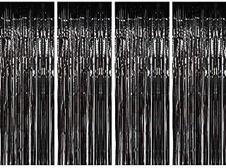GLE2016 4 Stück Folienvorhänge Metallic Fransen Vorhänge Schimmer Vorhang für Geburtstag Hochzeit Party Weihnachten Dekorationen (schwarz)