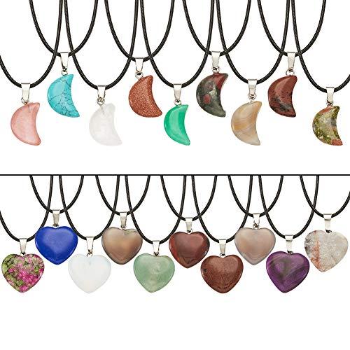PandaHall 20pcs Colgantes de piedras preciosas de corazón y luna con 20pcs Collar de cordón encerado y 1pcs Bolsa de almacenamiento