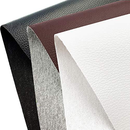 20x120cm 3 Colores Cuero Imitación Tela Cuero Sintético Material de Manualidades para Costura Bolso Cartera Artesanía Piel PU Blanco Marrón Negro