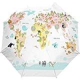 Cute Animal World Map Auto Open Umbrella Sun Rain Umbrella Anti UV Folding Compact Automatic Umbrella