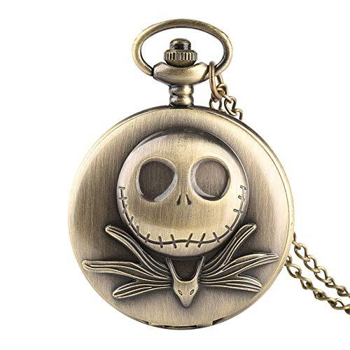 XVCHQIN Pesadilla Antes de Navidad Personalizada Reloj de Bolsillo de Cuarzo Colgante Relojes Retro creativos para Hombres Mujeres niños, Bronce