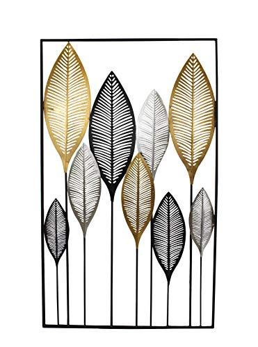 DARO DEKO Metall Wand-Bild Blätter im Rahmen 60 x 100cm