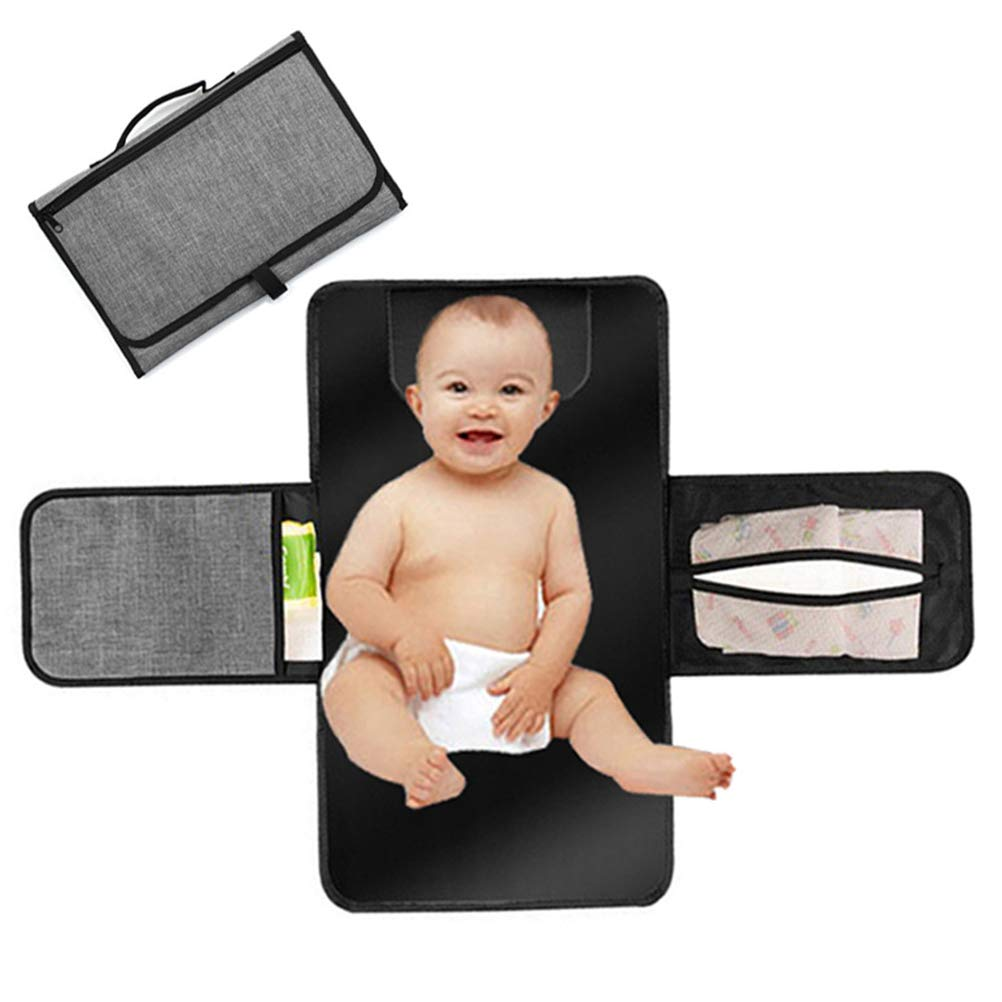 Baby Portable Changing Diaper Pad - Diaper Clutch - Foldable Baby Diaper Station - Lightweight and Waterproof Baby Changing Mat/Bag,Grey