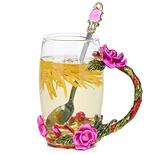 COAWG Enamel Glass Mug with Spoon Handmade Rose Tea Coffee Cups Gifts for Women Grandma Mum Teacher Friends Birthday Mother Day Valentines Day Wedding Anniversary (Pink Long)