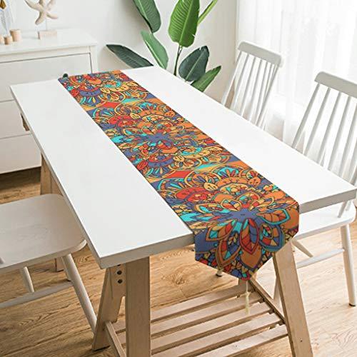 Mnenyywm Camino de mesa clásico, mantel individual para decoración de mesa de comedor en el hogar y decoración de mesa diaria, lavable a máquina para fiestas en interiores, color blanco, 229 x 33 cm