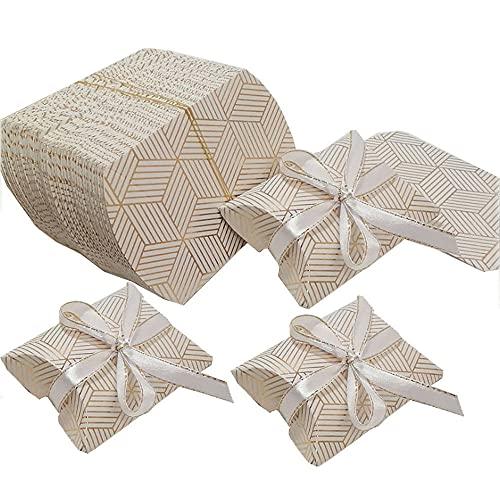 Caja Almohada Regalo Fiesta, 100 Piezas Caja Papel Almohada, Cajas Almohada Caramelo, Caja Regalo Almohada Papel, para Regalo Pequeño de Galletas Hechas a Mano con Nueces de Chocolate (Dorado)