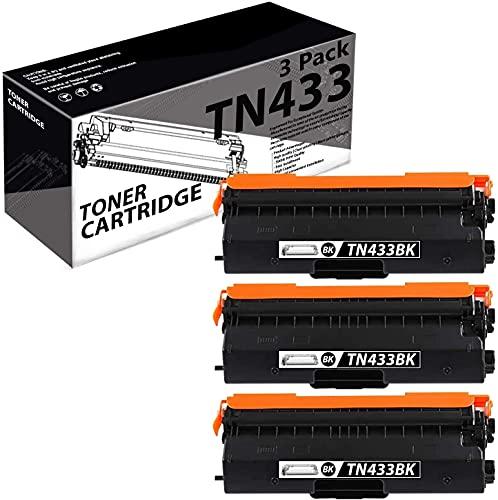 TN433(3 Pack-Black) Compatible Toner Cartridge Replacement for Brother HL-L8260CDW L8360CDW L8360CDWT DCP-L8410CDW MFC-L8610CDW L8690CDW L9570CDWT Printer.