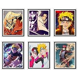 MS Fun 6er-Set Gaara Boruto Sasuke Naruto Uzaumaki digitale Illustration Premium Anime Bild Poster Leinwand Kunstdrucke, 20,3 x 25,4 cm, ohne Rahmen