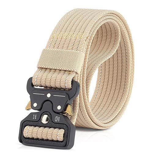 DORRISO Moda Hombre Cinturón Táctico Militar Men Tactical Cinturón Liberación Rápida Cinturón de cintura, Hombres Cinturón de Nylon Caqui