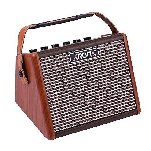 AROMA 15W Portable Acoustic Guitar Amplifier Amp BT Speaker Built-in Rechargeable Battery with Microphone Interface AG-15A