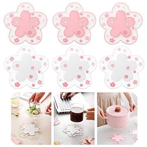 Sa-kura Coaster - Juego de 6 posavasos de PVC Saku-ra, antideslizante, redondo, taza de café, taza, taza, taza, taza, 10 cm sin taza