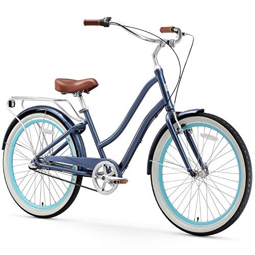 sixthreezero EVRYjourney Womens 3-Speed Step-Through Hybrid Cruiser Bicycle, 26 Wheels with 17.5 Frame, Navy with Brown Seat and Grips