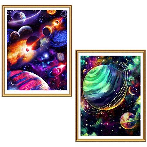 Ginfonr 5D Diamond Painting Diamante Pintura Planeta Cielo Estrellado Universo Por Kits Numéricos Pintura De Taladro Completo Con Decoración De Pared De Diamantes Art 30 * 40 cm, 2Pack