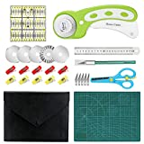 Rotary Cutter Kit, Rotary Cutter Tool Kit with with 5 Extra Blades, Cutting Mat, Patchwork Ruler, Carving...