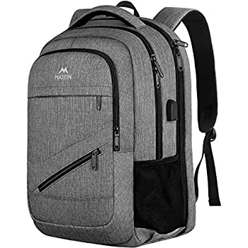 Travel Laptop Backpack,TSA Large Travel Backpack for Women Men 17 Inch Business Flight Approved Carry On Backpack with USB Charger Port and Luggage Sleeve MATEIN Durable College School Bookbag,Grey