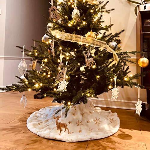 Richaa Weihnachtsbaum Rock, 31zoll/78cm Weihnachtsbaumdecke Weiß Kunstfell Weihnachtsbaum Röcke mit goldfarbenen Pailletten für Weihnachtsdekorationen, Party-Dekoration