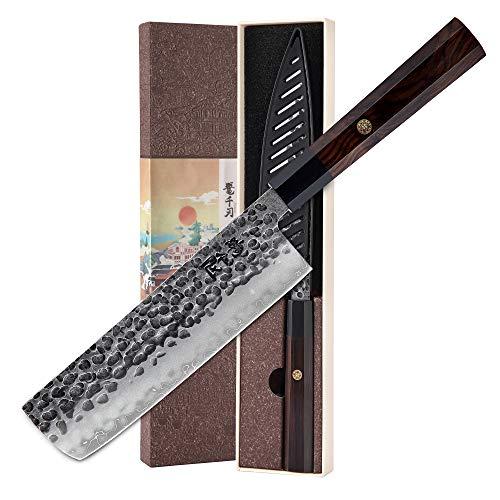 KONOLL Küchenmesser, 17,8 cm, Nakiri-Messer, 3-lagig, 9CR18MOV verkleideter Stahl, gehämmert mit Holzgriff, für Zuhause und Restaurant