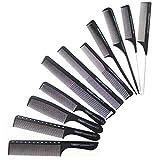 Haarkamm Set,ZUZER 11pcs Schwarz Friseur Haar Kamm Haarschneide Kämme Stielkamm Hair Styling Kamm Kunststoffkamm für Männer und Frauen