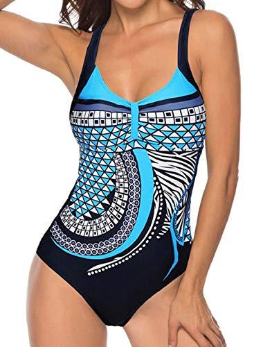 heekpek Trajes de Una Pieza Vintage Impresión Bañador Natacion Mujer Surf Tallas Grandes Monokini Push Up Sexy V-Cuello Verano Traje de Baño Atlético Mujeres Retro Trajes de Baño