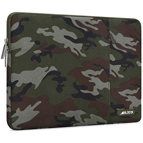 MOSISO Laptop Sleeve Compatible with 13-13.3 inch MacBook Pro, MacBook Air, Notebook Computer, Water Repellent Polyester Vertical Carrying Case Cover Bag with Pocket, Army Green Camouflage